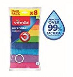 Vileda - Set de 8 bayetas Microfibras Colors, colores variados, 30 x 30 cm, 8 unidades