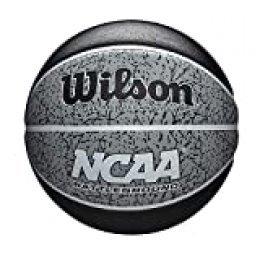 Wilson WTB2501XB07 Pelota de Baloncesto NCAA Battleground Caucho Interior y Exterior, Unisex-Adult, Negro/Gris, Official