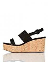 FIND Cork Two Part Sling Back Wedge Zapatos de tacón con Punta Abierta, Negro (Black), 39 EU