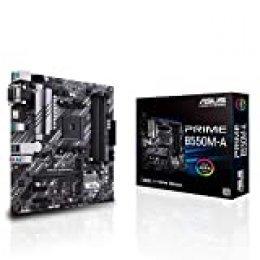 ASUS Prime B550M-A - Placa Base mATX AMD AM4 con disipación VRM Mos, Dual M.2, PCIe 4.0, 1 GB LAN, HDMI/D-Sub/DVI, SATA 6 Gbps, USB 3.2 Gen 2 Type-A y Conectores Aura Sync RGB