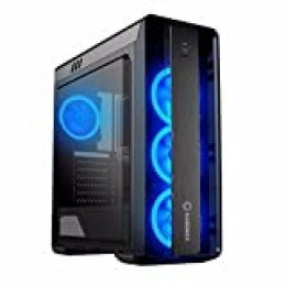 GAMEMAX Moonlight Case ATX Middle Tower para PC Desktop de Gaming 0.5 mm SPCC Front plexiglás 3 Ventiladores 15 LED Ring Azul 3 * USB 3.0/2.0 Panel Lateral Full plexiglás