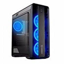 GAMEMAX Moonlight Case ATX Middle Tower para PC Desktop de Gaming 0.5mm SPCC Front plexiglás 3Ventiladores 15LED Ring Azul 3* USB 3.0/2.0Panel Lateral Full plexiglás