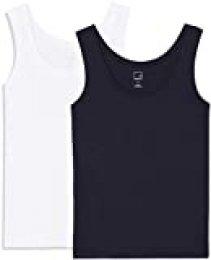 Marca Amazon - MERAKI Camiseta Slim Fit Mujer Cuello Redondo, Pack de 2