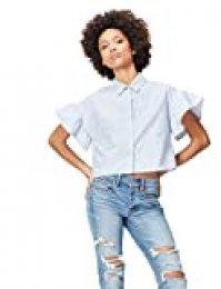 Marca Amazon - find. Camisa Estampada con Volantes para Mujer