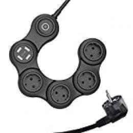 VASTFAFA Regleta Enchufe,Regleta Enchufes de 4 Tomas y 4 Puertos USB(5V,2.4A) y 1 Interruptor,Rotativo Regletas de 4 Enchufes con Protección de Sobretensiones Cable 1.5m(3680W,Negro)