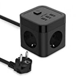 JSVER Cube Regleta Enchufe con USB de 3 Tomas con 3 USB Puertos Alargadera Electrica Protección Contra Sobretensiones para el hogar, la oficina y los ViajesCable 1.5 m Negro