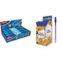 Tipp-Ex Micro Tape Twist Caja de 10 unidades, cinta correctora 8 m x 5 mm, color azul + Cristal Original Caja de 50 unidades, bolígrafos punta media (1,0 mm), color azul