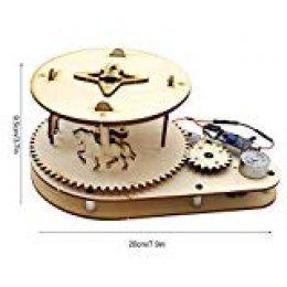 Zerodis- Merry-Go-Round de Madera, Control de Voz Merry-Go-Round de Madera Rompecabezas 3D Puzzle de Madera Arquitectura Modelo Juguete Ciencia Experimento Juguete Educativo para niños