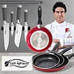 San Ignacio PK344 Set de útiles de Cocina: Cuchillos y sartenes, Rojo