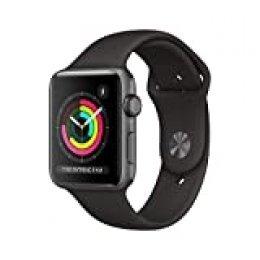 AppleWatchSeries3 (GPS) concaja de 42mm de aluminio engris espacial ycorrea deportiva, Negra