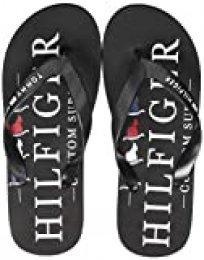 Tommy Hilfiger Nautical Print Beach Sandal, Sandalias con Punta Abierta para Hombre, Negro (Black Bds), 44 EU