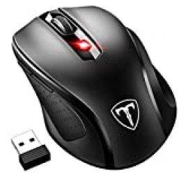 VicTsing Ratón Inalámbrico Mini, Portátil 2.4G con Receptor Nano, 6 Botones, 2400DPI, 5 dpi Adjustables (Negro)