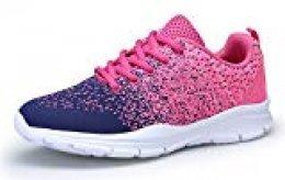 DAFENP Zapatillas Running Hombre Mujer Zapatos Deporte para Correr Trail Fitness Sneakers Ligero Transpirable (36 EU, Rosado Azul)