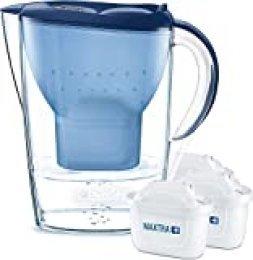 BRITAMarellaazul Pack Ahorro – Jarra de Agua Filtrada con3 cartuchos MAXTRA+, Filtro de agua BRITA que reduce la cal y el cloro, Agua filtrada para un sabor óptimo,2.4L