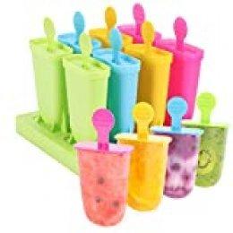 Joyoldelf 8 paquetes de moldes para paletas de helado, reutilizables, de grado alimenticio, sin BPA, molde para helado para niños