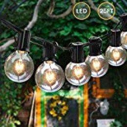 Svater Cadena de Bombillas, 25Ft Cadena de Luz, G40 Guirnaldas Luminosas de Exterior y Interiores con 25 Globe LED Bombillas, Guirnalda Luces Exterior Perefcto para Jardín Patio Fiesta Cafe