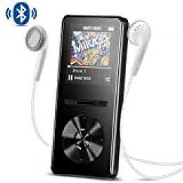 Reproductor Bluetooth MP3 de 8 GB con FM, AGPTEK sin pérdida de Audio, Reproductor de música HiFi con función de Bloqueo de Pantalla de grabación de vídeo, soporta hasta 128 GB, A29T Negro
