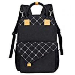 Hap Tim - Mochila para pañales de bebé con cambiador, dos capas, multifuncional, gran capacidad, bolsa de viaje para viajes (color negro)