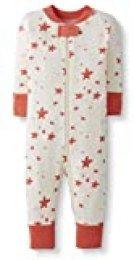 Moon and Back de Hanna Andersson - Pijama de una pieza sin pies hecho de algodón orgánico para bebé, Coral Star, 0 messes (49 CM)