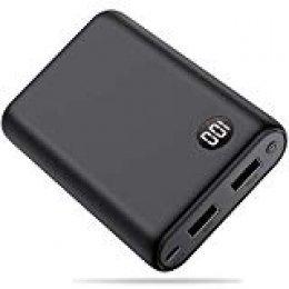 Yacikos Power Bank 13800mAh, Mini Diseño Batería Externa Alta Capacidad con 2 Puertos USB de Alta Velocidad y Pantalla LCD Cargador Móvil Portátil para Xiaomi iPhone Huawei Samsung etc Smartphone