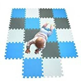 MQIAOHAM alfombra bebe carpet de espuma eva grande infantiles juguete manta parque play puzzle tapete Blanco-Azul-Gris 101107112