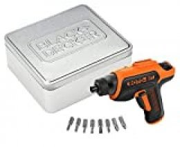 BLACK+DECKER CS36BST-QW - Atornillador 3.6V con almacenamiento para puntas + 8 puntas en lata