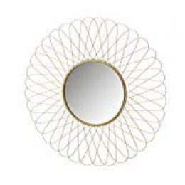 Espejo Flor de Metal Dorado Oriental para salón de 55 cm. Sol Naciente - LOLAhome
