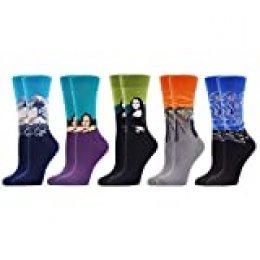 WeciBor Calcetines Estampados de las Mujeres, Mujeres Ocasionales Calcetines Divertidos Impresos de Algodón de Pintura Famosa de Arte Calcetines, Calcetines de Colores de moda (ES069-84)