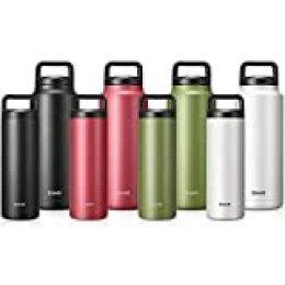 Brewsly Botella Agua Acero Inoxidable, Aislada al Vacío de Conserva Frío Doble Pared, con Doble Aislamiento para 12 Horas de Bebida Caliente y 24 Horas de Bebida Fría - Libre BPA - 500ML, Verde