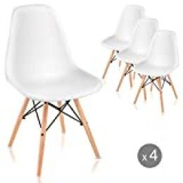 Mc Haus SAONA - Pack 4 Sillas Blancas diseño Nórdico, Asiento Comedor Cocina Terraza con patas Madera de haya 82x46x51cm