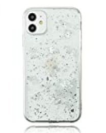 "Funda iPhone 11 (6.1"") Silicona Anti-Golpes Detalles Plateados, Carcasa Apple iPhone 11 Protección Puerto Carga (Transparente)"