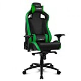 Drift DR500G Silla Gaming, Polipiel, Negro/Verde, Profesional, Respaldo reclinable, Altura regulable, Reposabrazos ajustables