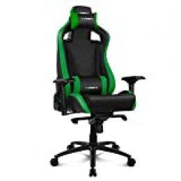 Drift DR500G Silla Gaming, Polipiel, Negro/Verde, Profesional, Respaldo reclinable, Altura regulable, Reposabrazos ajustables