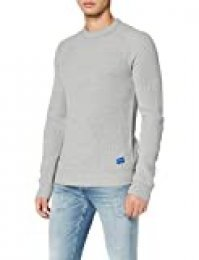 JACK & JONES Jorpannel Crew Neck. suéter, Azul (Light Grey Melange Knit Fit), XX-Large para Hombre