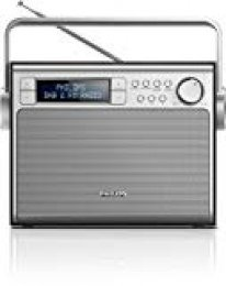 Philips AE5020B/12 - Radio portátil, Dab+, sintonizador Digital FM, alimentación por CA o batería, 3 W, Negro/Metálico