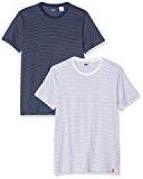 Levi's Slim 2pk Crewneck 1 Camiseta, Multicolor (2 Pack White + Blue Y/D/Blue + White Y/D Staple Stripe 0005), Medium para Hombre