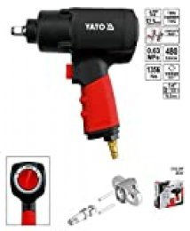 Yato YT-0953 power wrench Negro, Rojo - Impact wrenches (Compressed air, 2,45 kg, 1356 Nm, 480 l/min, 6,3 bar, Ergonómico)