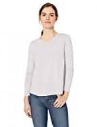 Marca Amazon - Daily Ritual - Camiseta ligera de algodón ablandado, con vuelo y manga larga para mujer