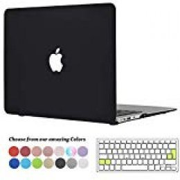 Tecool Funda MacBook Air 13 pulgadas, [Ultra Slim Cubierta] Plástico Duro Case Carcasa con Tapa del Teclado para MacBook Air 13.3 Pulgada Modelo: A1466 and A1369 - Negro