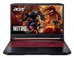 "Acer Nitro 5 - Ordenador portátil Gaming de 15.6"" FullHD (Intel Core i7 - 9750H, 16GB RAM, 512GB SSD, NVIDIA GeForce GTX 1660Ti 6GB, Sin Sistema Operativo) Negro, QWERTY Español"
