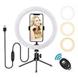 """Anillo de Luz, Vamvo Aro de Luz con Tripode para Móvil, 10"""" Ring Light con Trípode y Controlador Bluetooth, 3 Modos & 8 Niveles de Brillo para TIK tok, Maquillaje, Vlog, Fotografía"""