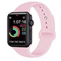 AK Compatible con para Apple Watch Correa 42mm 38mm 44mm 40mm, Silicona Blanda Deporte de Reemplazo Correas Compatible con para iWatch Series 4, Series 3, Series 2, Series 1 (08 Pink, 42/44mm M/L)