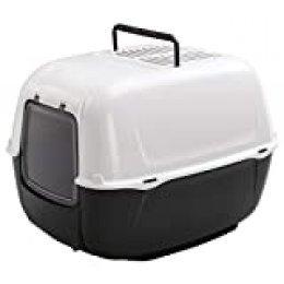 Caja de Arena para Gatos Prima Bandeja Sanitaria Cerrada, Aseo para Gatos, Plástico, Puerta basculante y cómoda asa, Incluye Dos filtros de carbón Activo, 52,5 x 39,5 x h 38 cm Negro