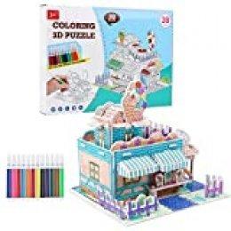 Smyidel 2020 Nuevo Dibujo en Color 3D Puzzle con 12 bolígrafos de Acuarela, día del niño, DIY Kid Puzzle Toys para niños pequeños Niños Niñas Regalo Edad 5 6 7 8 9 10 11 12 años (A)