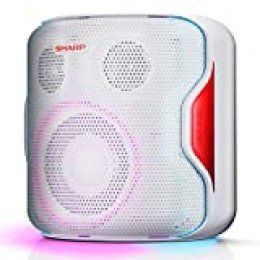 Sharp PS-919 (WH) Altavoz con TWS, Bluetooth 5.0, Puerto USB, Sonido 3D, Luces Multicolor, Impermeable IPX5, 130 W de Potencia y Batería Integrada, Blanco