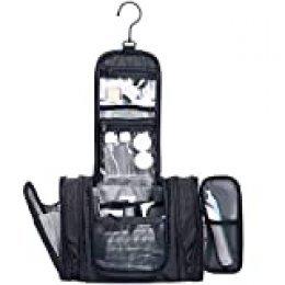 Wandf Kit para artículos de tocador expandible Dopp con Juego de Botellas Aprobado por TSA Resistente al Agua Nylon, Negro