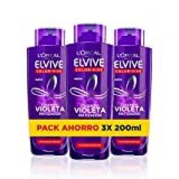 L'Oreal Paris Elvive Color Vive - Champú Violeta Matizador para Pelo Teñido, Rubio, Decolorado o Gris - Pack Ahorro de 3 Unidades x 200 ml, Total: 600 ml