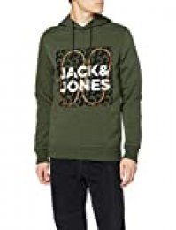 Jack & Jones JCOBOOSTER Sweat Hood Oct 19 Sudadera con Capucha, Verde (Forest Night Forest Night), S para Hombre