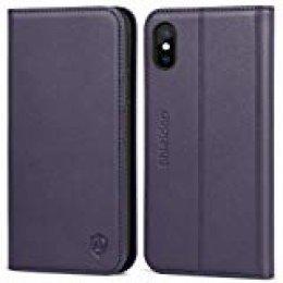 SHIELDON Funda iPhone XS, Funda de Cuero Genuino con Auto Despertar/Dormir, Tecnología de Bloqueo RFID,Garantía de por Vida, Cubierta Interior TPU, Carcasas para iPhone XS 2018(5.8 Pulgadas)- Púrpura