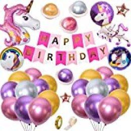 SPECOOL Decoraciones Fiesta Unicornio para Niños, Globos Unicornio 3D con Pancarta de Feliz Cumpleaños de Bricolaje, Globos Látex Premium en Metálico, Suministros Fiesta Cumpleaños para Baby Shower